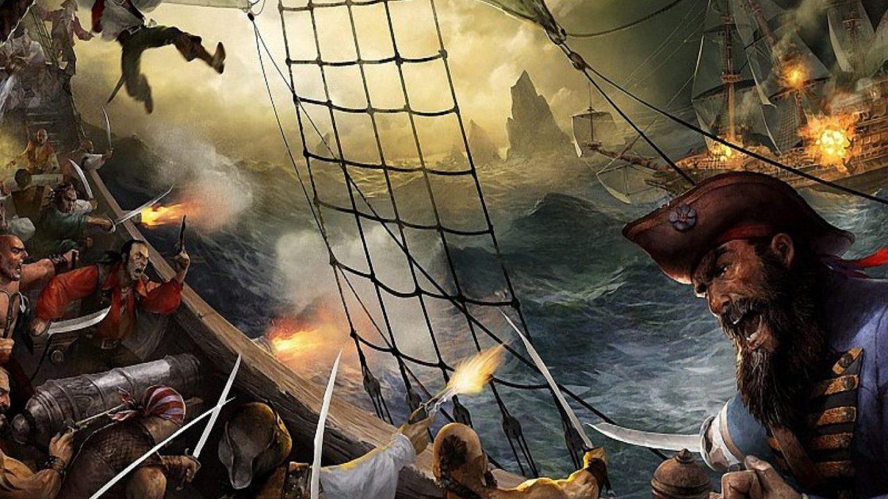ocean-guns-waves-ships-pirates-cannons-battles-digital-art-adventure-swords-sails-sailor-sea-wallpaper-471900